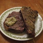Day 7: Rosemary Crusted Strip Steaks with Gorgonzola Sauce